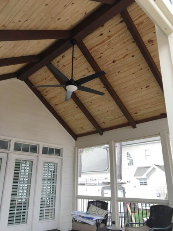 Vaulted ceiling and fan