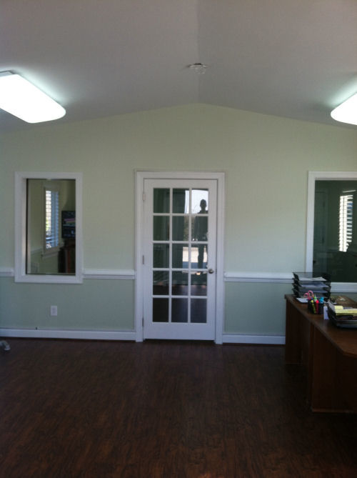 Another view of the renovated reception area, built by Anthony and Company Construction