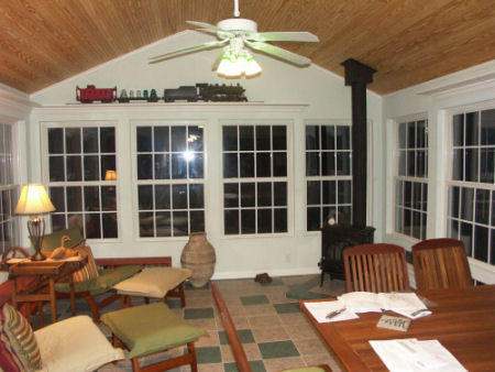 Evening view of the Scarry Sunroom, built by Raleigh Sunroom Contractor Anthony and Company Construction